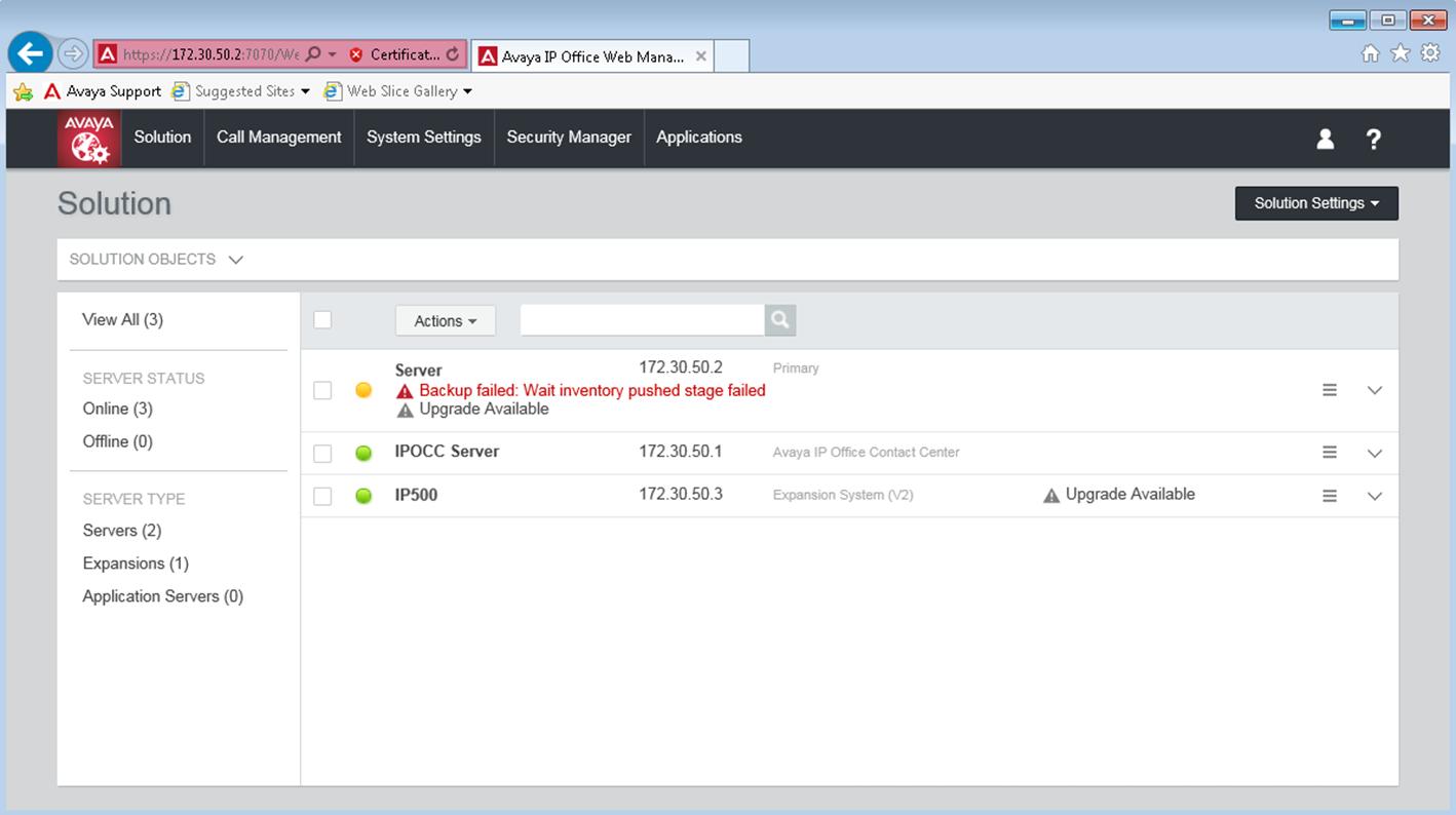 Avaya ip office server edition backup error backup failed wait inventory pushed stage failed - Avaya ip office server edition ...